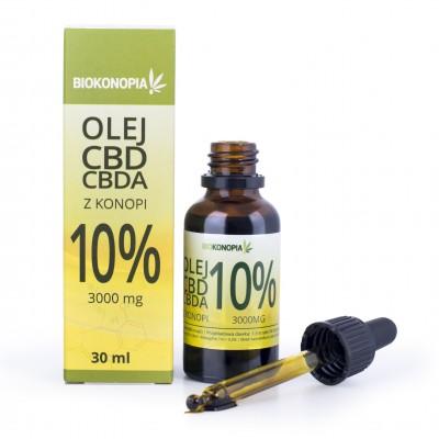 Olej CBD+CBDA z konopi 10% 3000mg 30ml Biokonopia