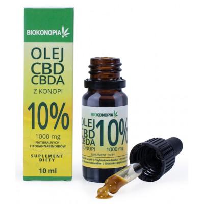 Olej CBD+CBDA z konopi 10% 1000mg 10ml Biokonopia