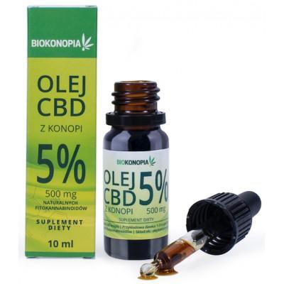 Olej CBD z konopi 5% 500mg 10ml Biokonopia